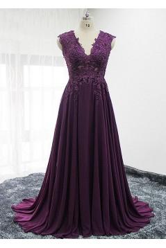 A-Line Lace Appliques V-Neck Mother of The Bride Dresses 602067