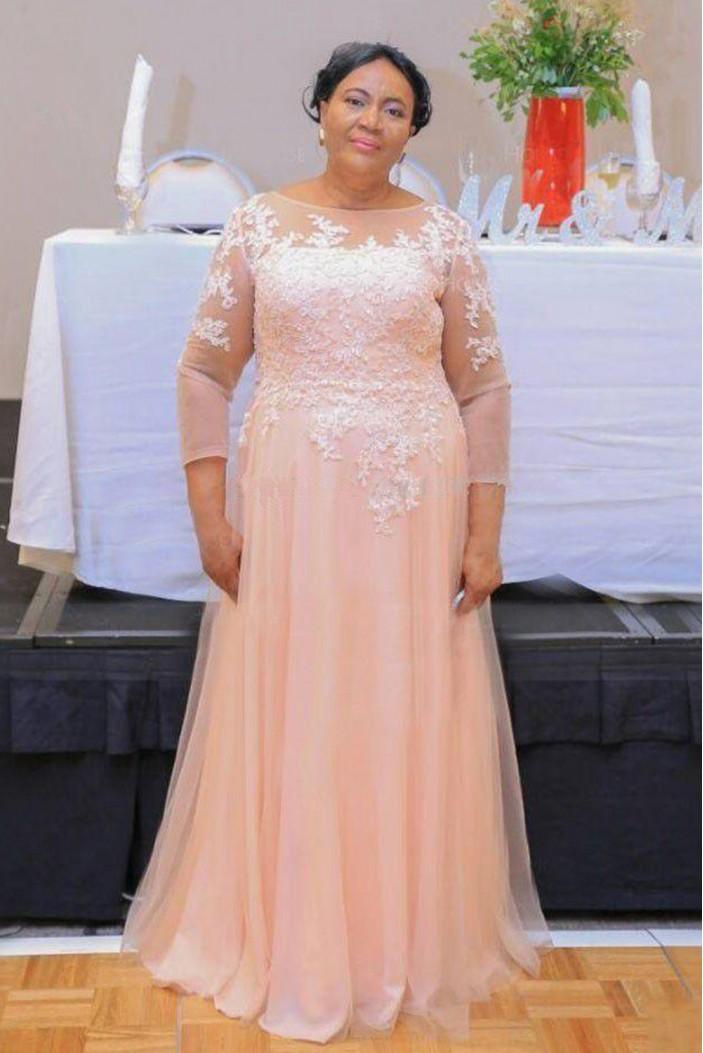 A-Line Lace Appliques Long Mother of The Bride Dresses 602080