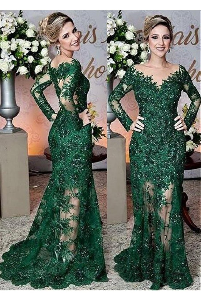 Mermaid Long Sleeves Beaded Lace Mother of The Bride Dresses 602082