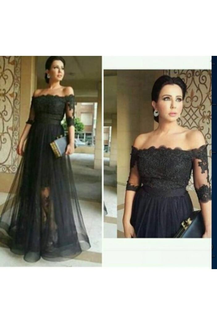 Long Black Off-the-Shoulder Lace Mother of The Bride Dresses 602091