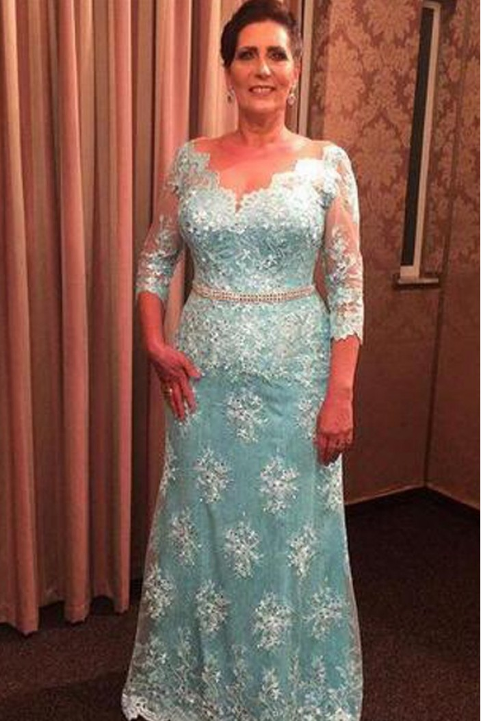Beaded V-Neck Lace Long Mother of The Bride Dresses 602102