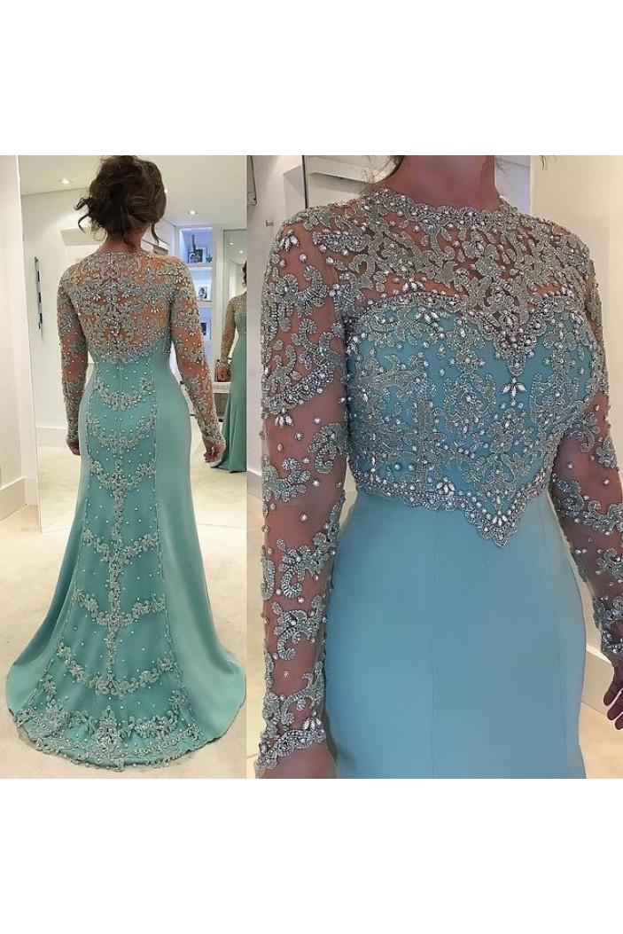 Mermaid Beaded Lace Appliques Long Sleeves Mother of The Bride Dresses 602104
