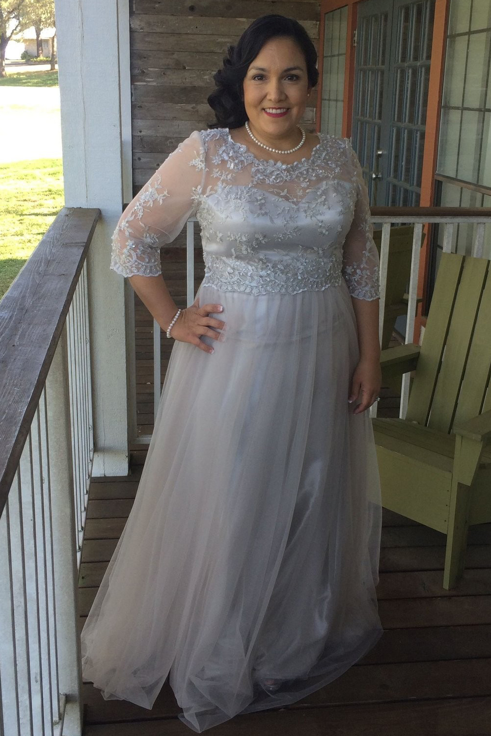 3/4 Length Sleeves Tulle Plus Size Mother of The Bride ...