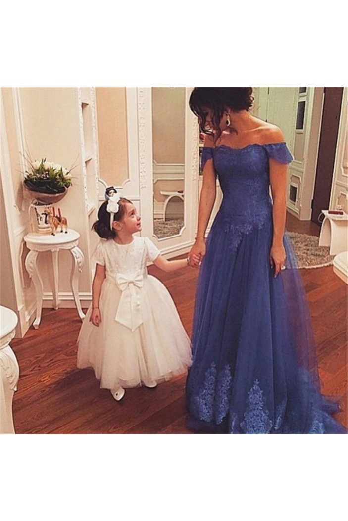 Lace Appliques and Tulle Off-the-Shoulder Mother of The Bride Dresses 602108