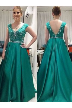 A-Line V-Neck Beaded Long Mother of The Bride Dresses 602110