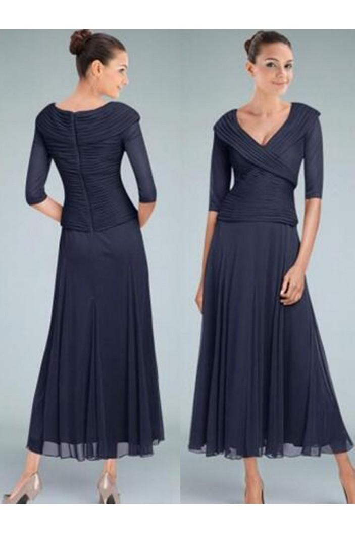 A-Line V-Neck Tea Length Mother of The Bride Dresses 602111
