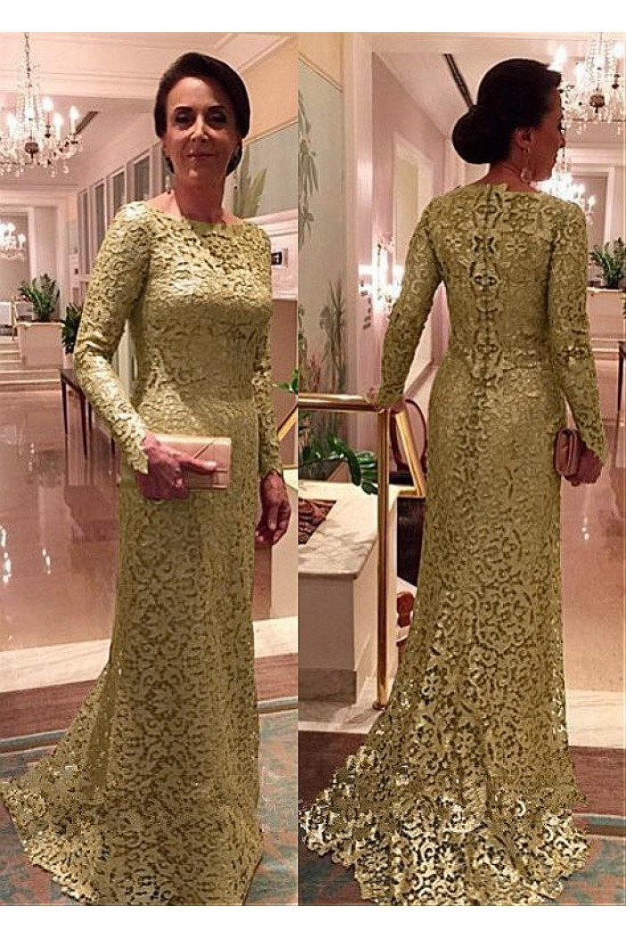 Mermaid Long Sleeves Lace Long Mother of The Bride Dresses 602112