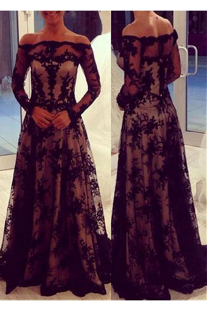 A-Line Off-the-Shoulder Long Sleeves Lace Mother of The Bride Dresses 602114
