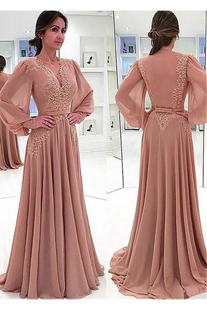 A-line Chiffon V-Neck Long Sleeves Lace Mother of The Bride Dresses 602116