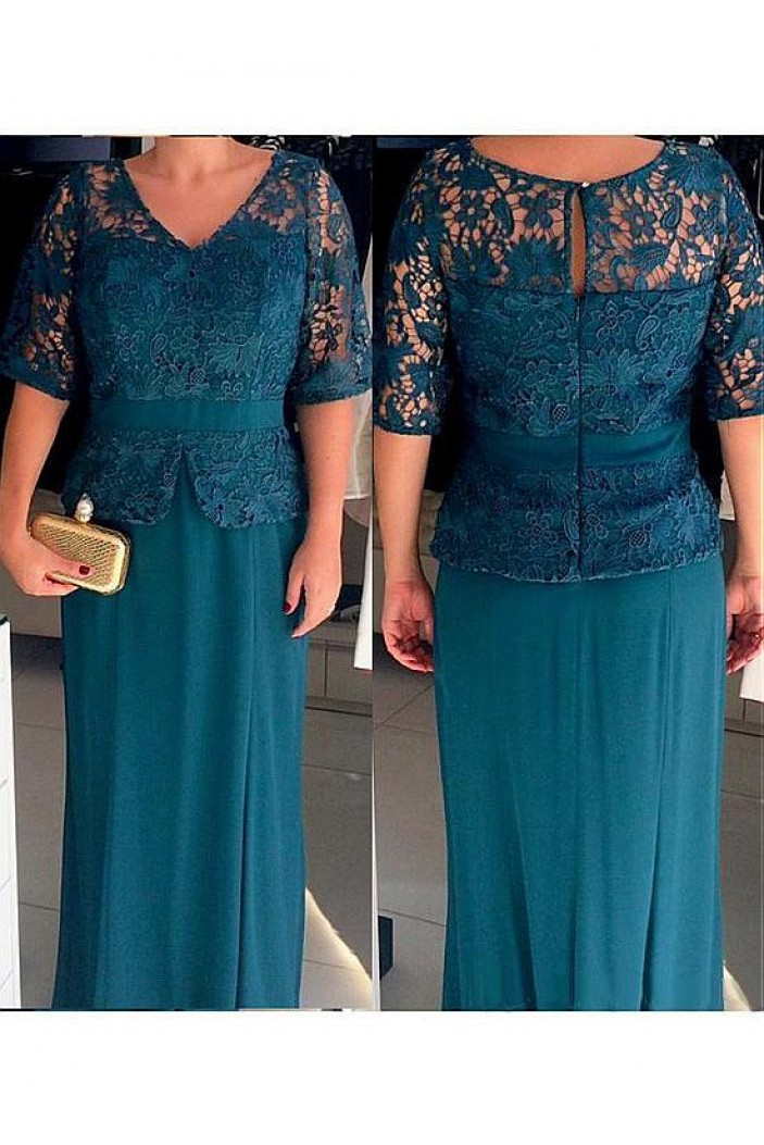 Lace and Chiffon V-Neck Mother of The Bride Dresses 602117