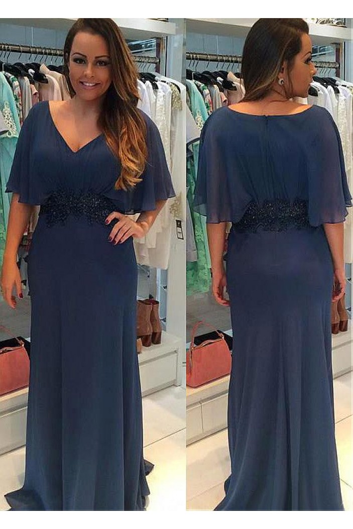 Elegant V-Neck Long Mother of The Bride Dresses 602119