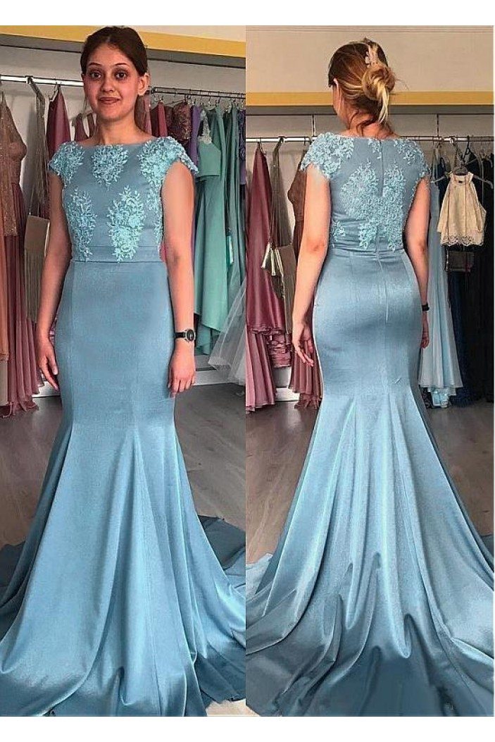 Elegant Mermaid Long Mother of The Bride Dresses with Lace Appliques 602120