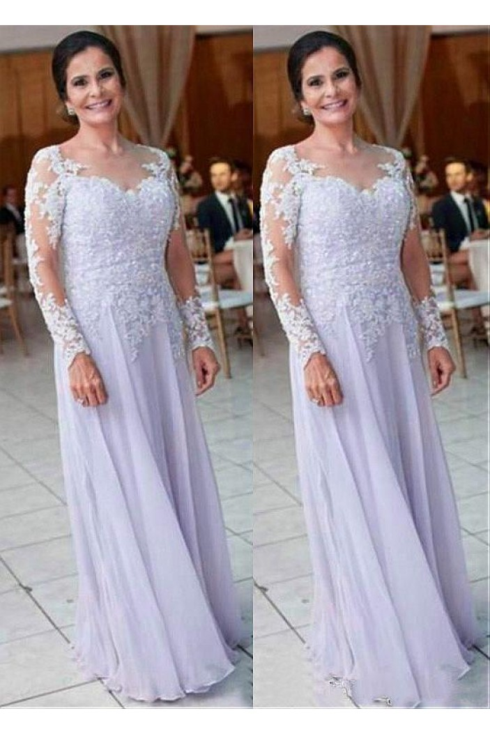 A-Line Long Sleeves Chiffon Mother of The Bride Dresses 602122