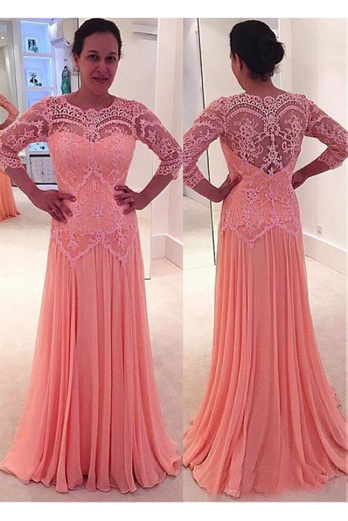 A-Line Lace Chiffon Long Mother of The Bride Dresses 602127