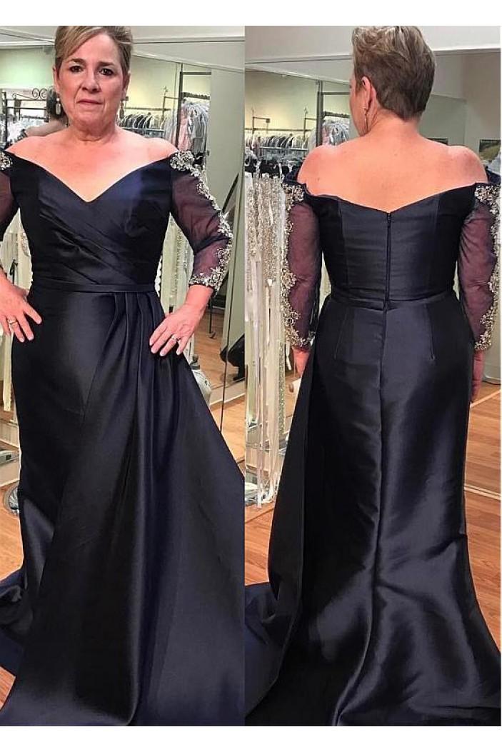 Elegant Off-the-Shoulder Long Mother of The Bride Dresses 602135