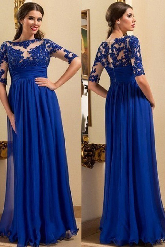 A-Line Long Mother of The Bride Dresses with Lace Appliques 602137