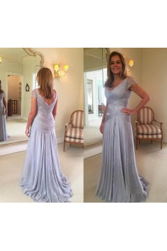 Elegant Chiffon Lace V-Neck Long Mother of The Bride Dresses 602140