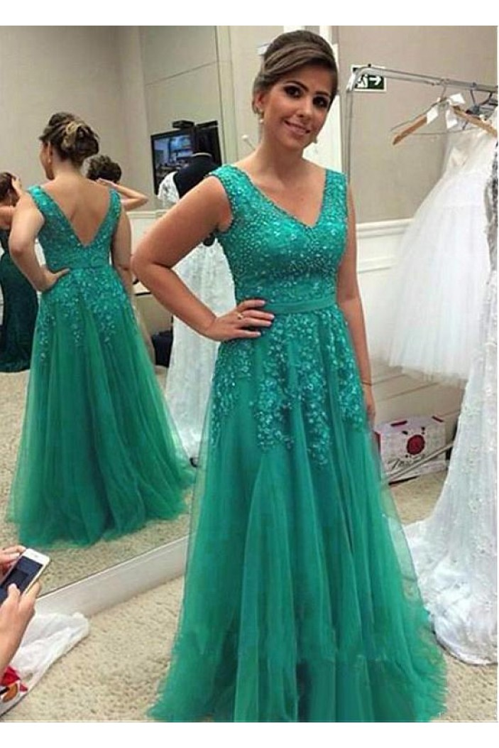 A-Line Tulle V-Neck Long Mother of The Bride Dresses with Beads and Lace Appliques 602142