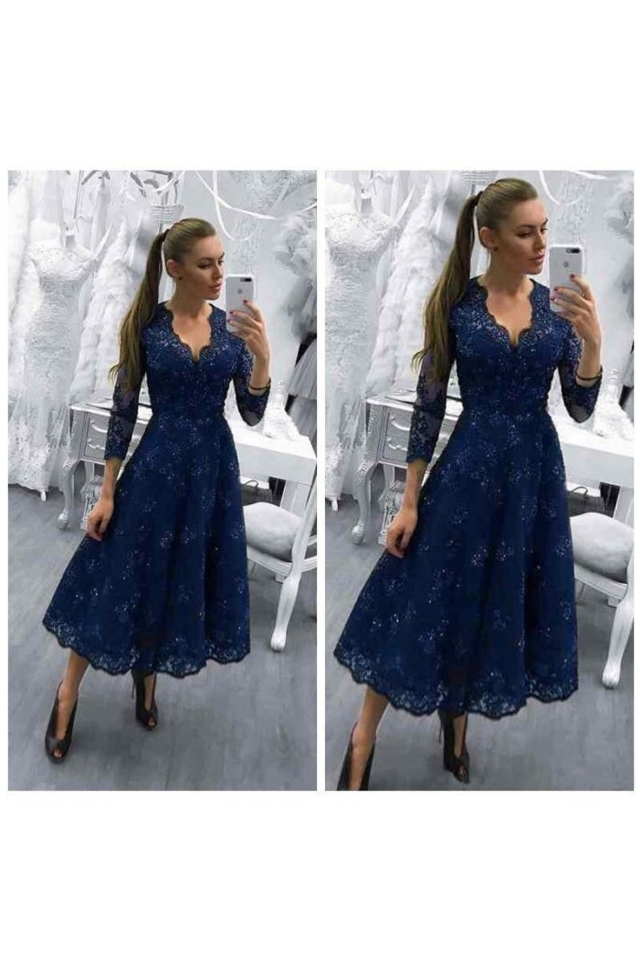 A-Line Tea Length V-Neck Mother of The Bride Dresses with Beads and Lace Appliques 602143