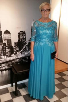 Elegant 3/4 Length Sleeves Tulle Mother of The Bride Dresses 602144