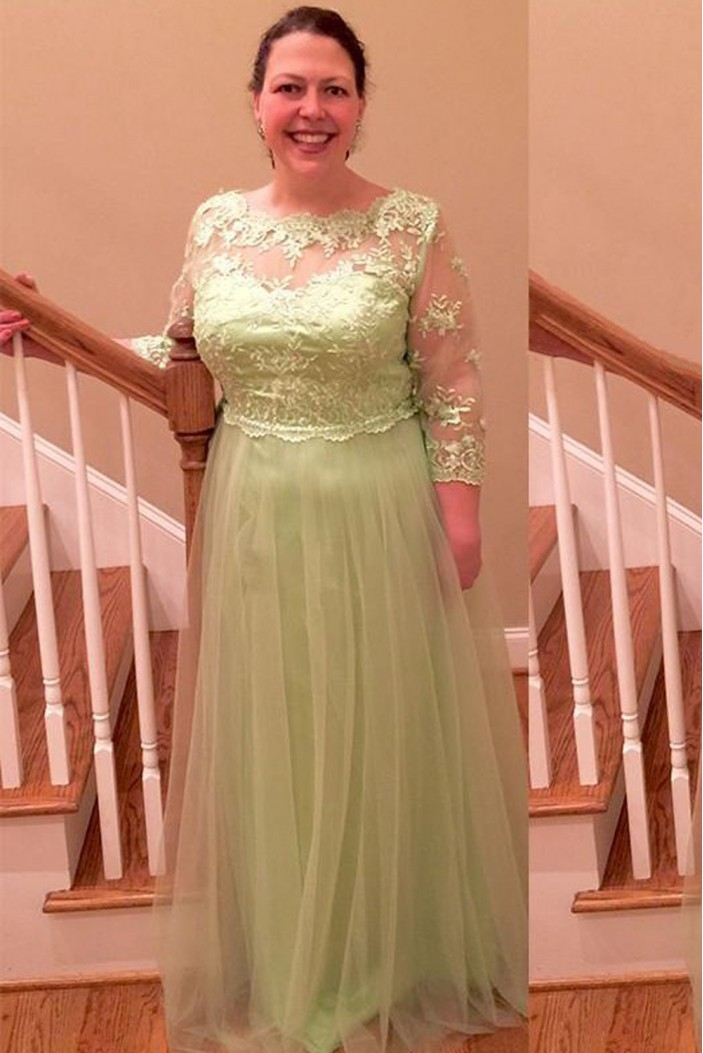 Elegant 3/4 Length Sleeves Tulle Mother of The Bride Dresses 602145