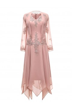 Long Sleeves Lace Chiffon Short Mother of The Bride Dresses 602146