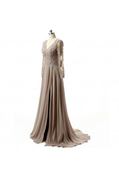 A-Line V-Neck Long Sleeves Lace Chiffon Mother of The Bride Dresses 602149