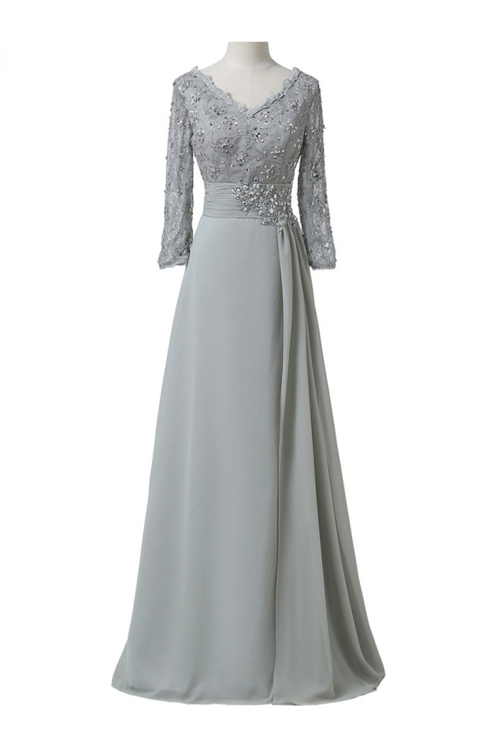 A-Line Beaded Lace Appliques V-Neck Long Mother of The Bride Dresses 602151