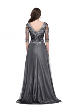 A-Line 3/4 Length Sleeves Long Mother of The Bride Dresses 602154