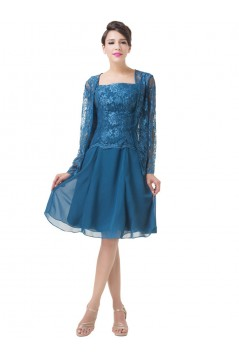 Short Long Sleeves Lace Chiffon Mother of The Bride Dresses 602155
