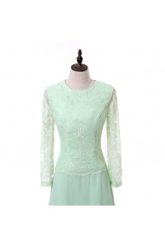 A-Line Long Sleeves Lace Chiffon Mother of The Bride Dresses 602156