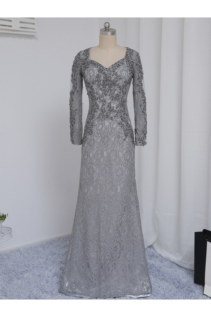 Long Sleeves Beaded Lace Mother of The Bride Dresses 602158