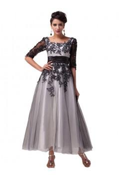 A-Line Tea Length Lace Appliques Tulle Mother of The Bride Dresses 602160