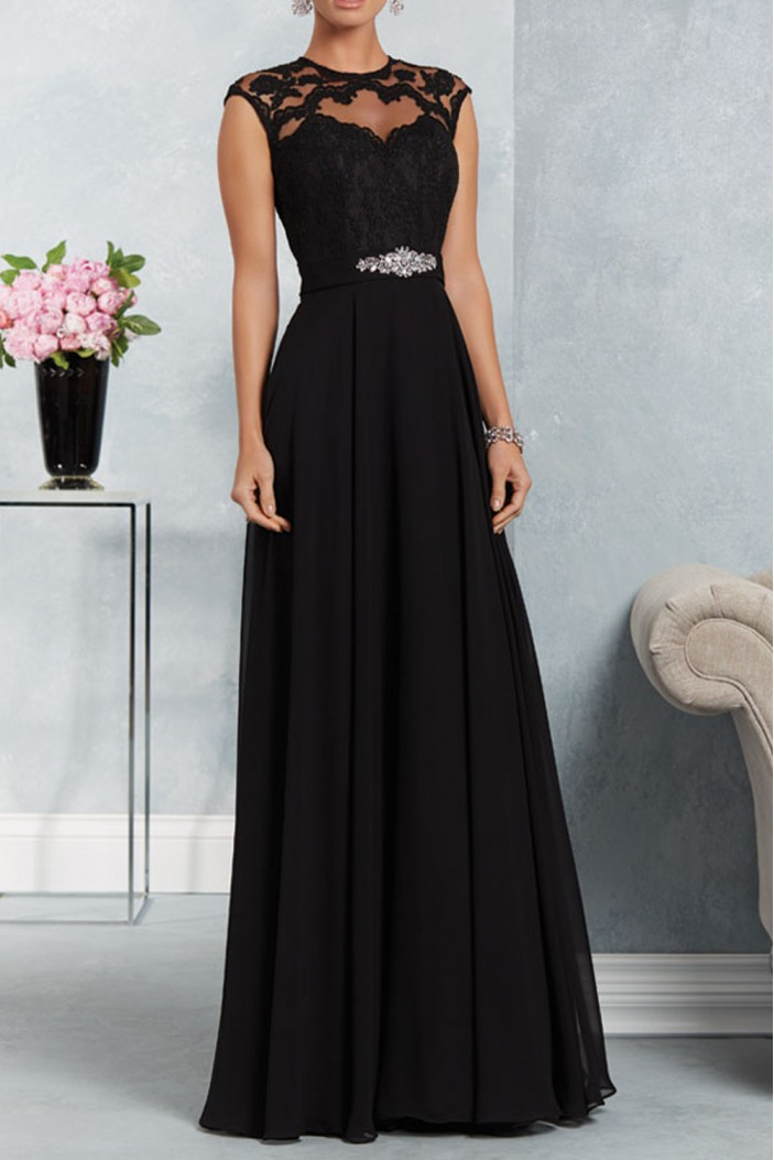 A-Line Beaded Lace Chiffon Long Black Mother of The Bride Dresses 602165