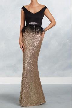 Elegant Long Black Gold Sequins Mother of the Bride Dresses 602168