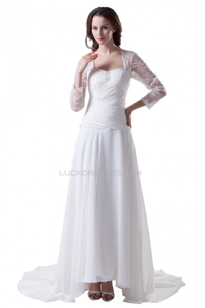 A-line Long Sleeves Sweep Train Chiffon and Lace Wedding Dresses WD010002