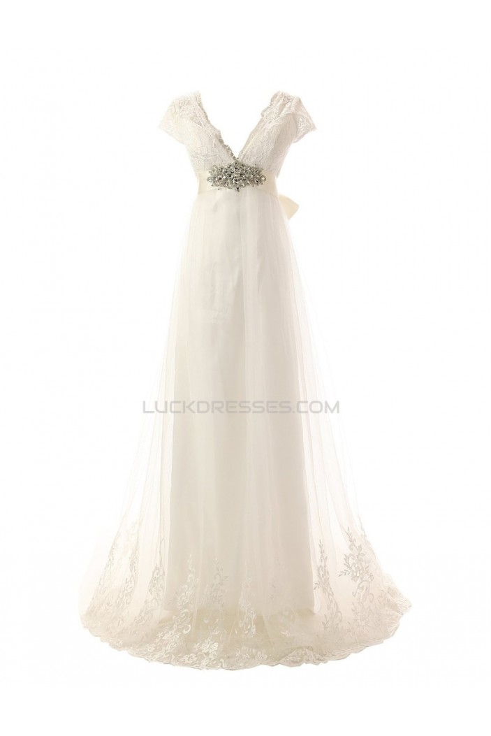 Sexy A-line V-neck Lace Sweep Train Wedding Dresses WD010003