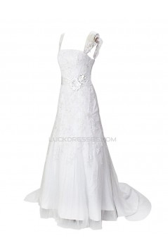 A-line Straps Sleeveless Sweep Train Lace Wedding Dresses WD010007