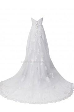 Elegant A-line Chapel Train Lace Wedding Dresses WD010008