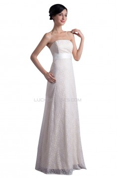A-line Strapless Floor Length Lace Wedding Dresses WD010010