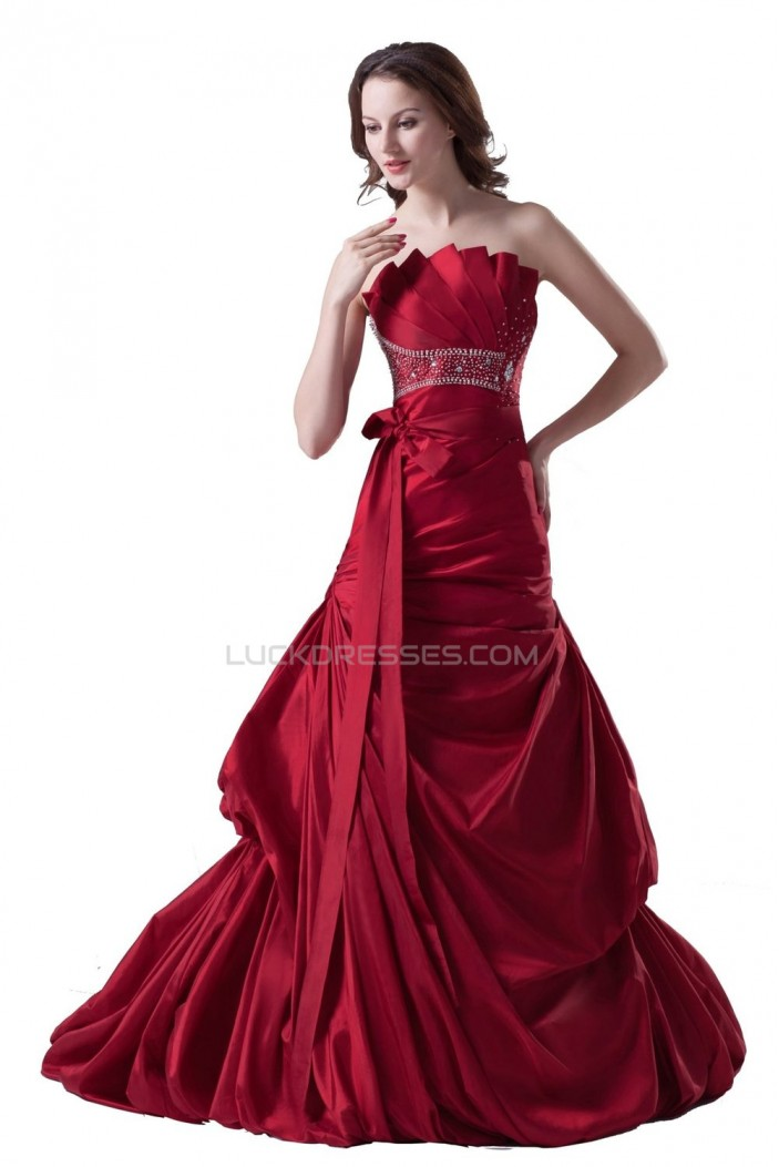 A-line Chapel Train Red Beaded Wedding Dresses WD010014