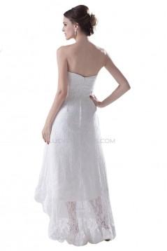 A-line High Low Short Lace Wedding Dresses WD010015