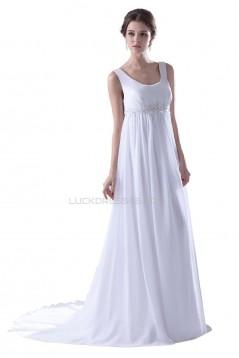 Empire Straps Chiffon Chapel Train Maternity Wedding Dresses WD010017