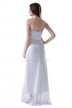 A-line Strapless High Low Lace Wedding Dresses WD010018