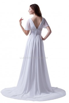 Sheath/Column Off-the-Shoulder Chapel Train Chiffon Wedding Dresses WD010019