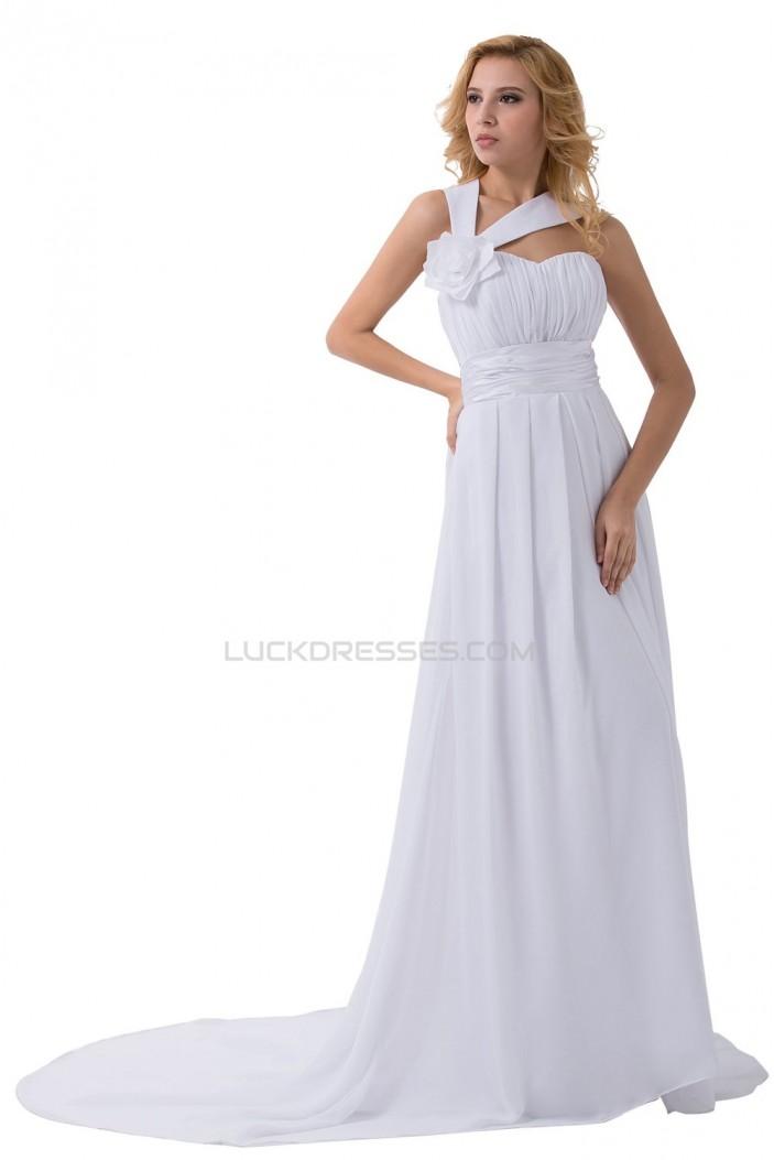 Sheath/Column Sweep Train Chiffon Wedding Dresses WD010022