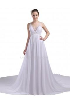 Elegant A-line V-neck Straps Chapel Train Chiffon Beaded Wedding Dresses WD010026