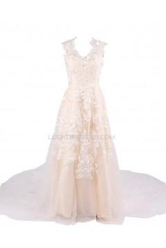 A-line Chapel Train Applique Wedding Dresses WD010027