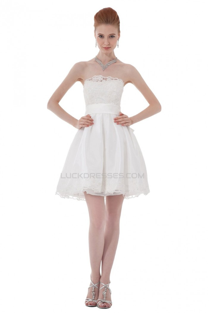 Short/Mini Strapless Lace Wedding Dresses WD010030