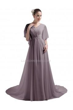 A-line Short Sleeves Chapel Train Chiffon Wedding Dresses WD010031
